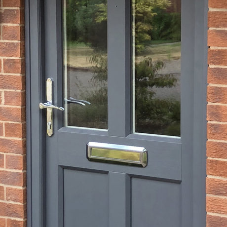 uPVC Front Door, Grey Maple, D&M, 130